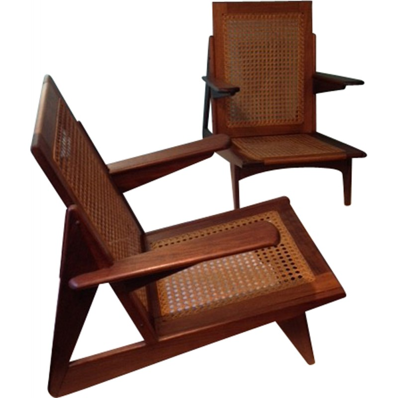 Pair of low chairs with cane and jacaranda - 1950s