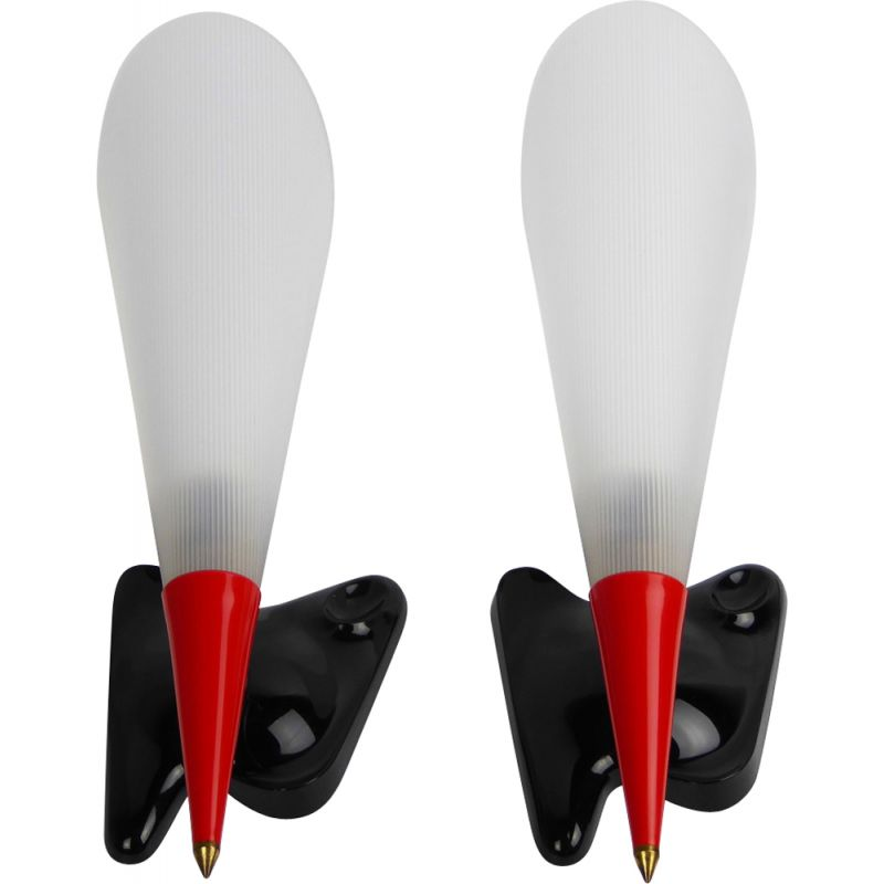 Set of 2 vintage wall lamps in red and black perspex