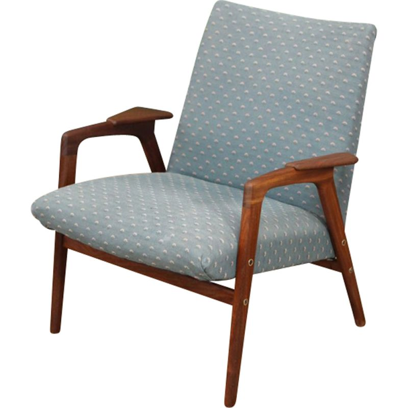 Vintage blue Ruster armchair by Yngve Ekstrom for Pastoe 1960s