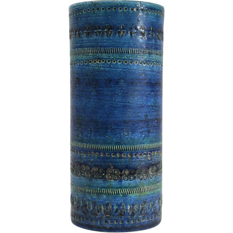 Vintage Blue Rimini serie vase for Bitossi in ceramic 1950