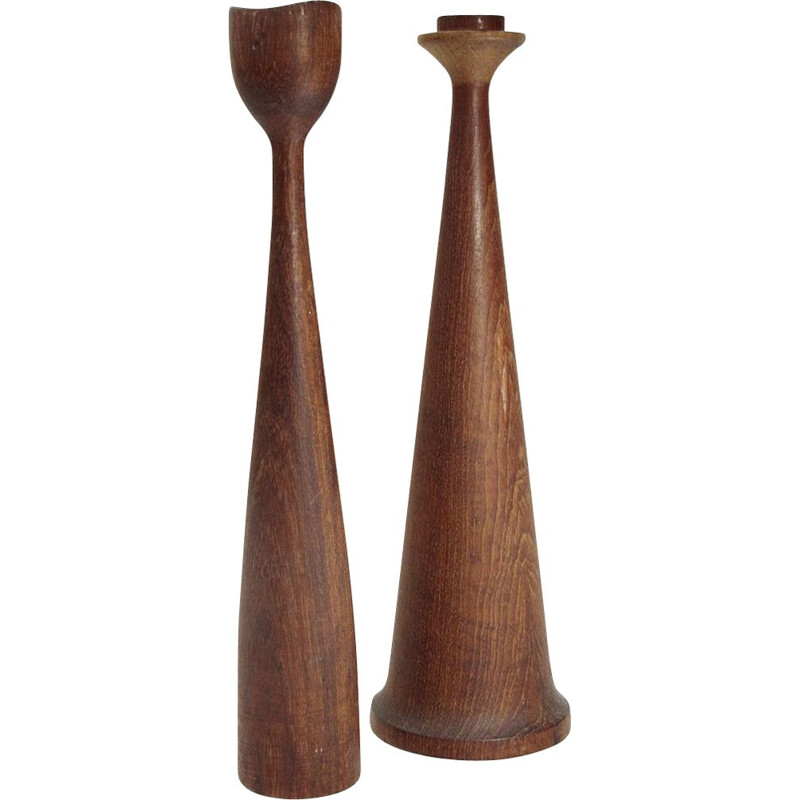 Set of 2 vintage teak candlesticks by Anri Form 1950s