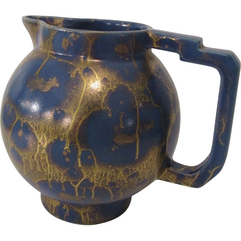French vintage pitcher in blue ceramic 1930