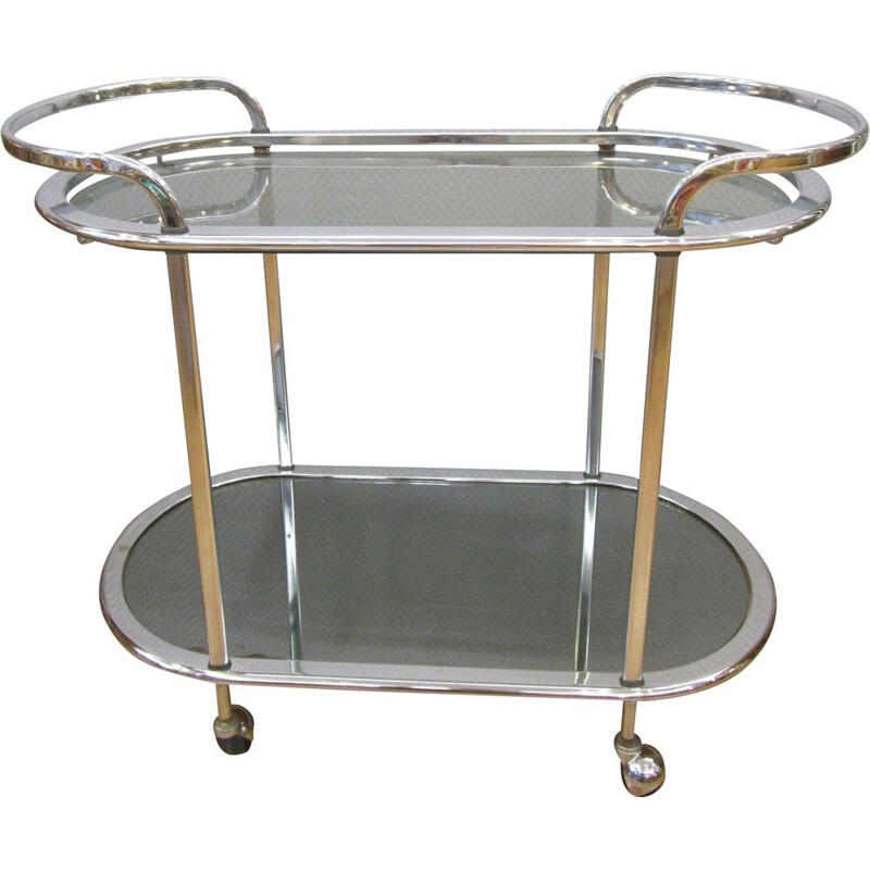 Vintage french trolley in chromed metal and glass 1970