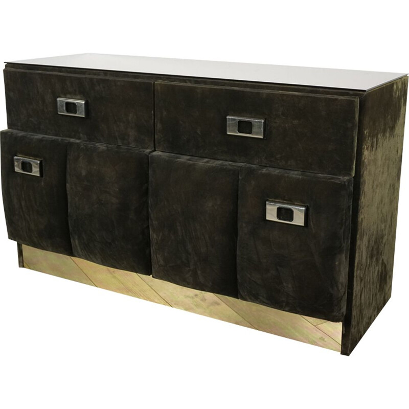 Vintage Italian chest of drawers in velvet and brass