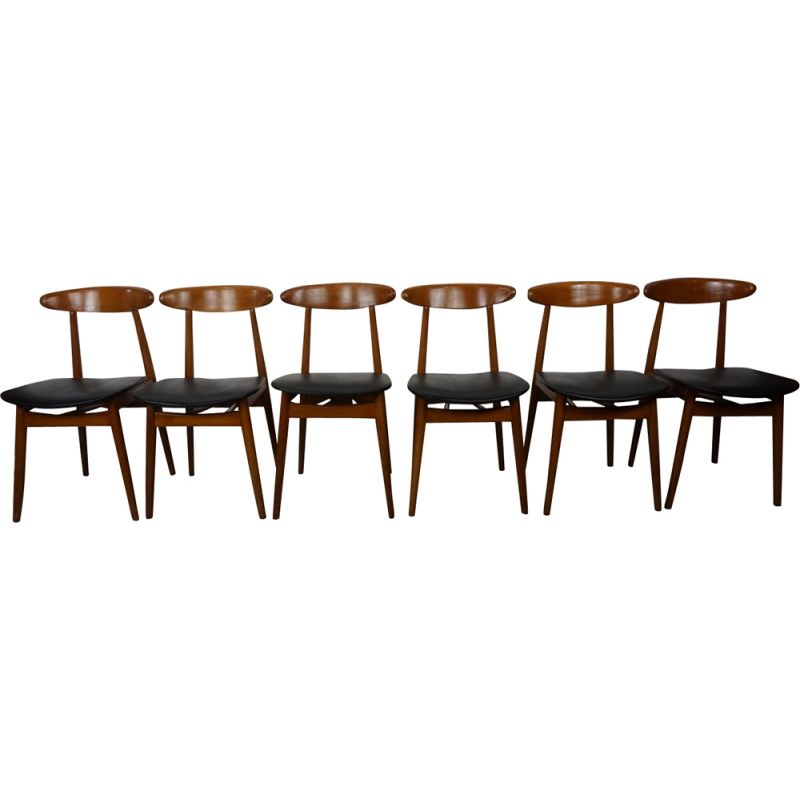 Set of 6 vintage Scandinavian chairs in teak and skai