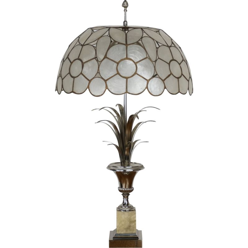 Vintage lamp in onyx and chrome by Maison Charles