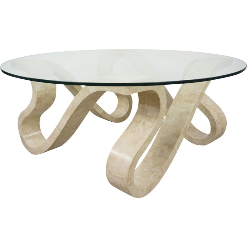 "Vintage coffee table ""Ribbon"" in stone and glass"