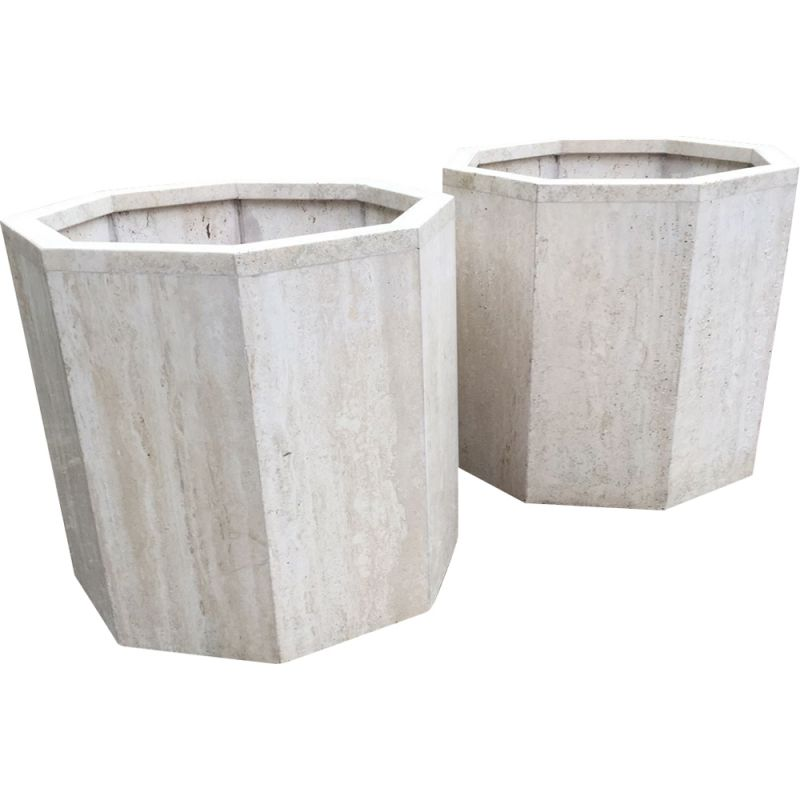 Set of 2 vintage French planters in travertine