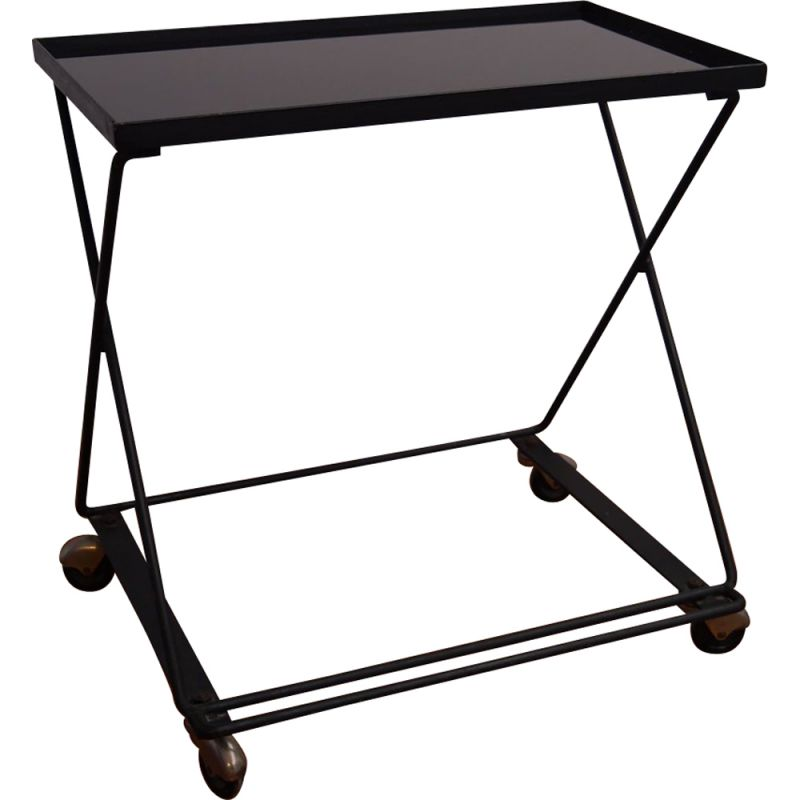 Vintage French serving cart in black metal
