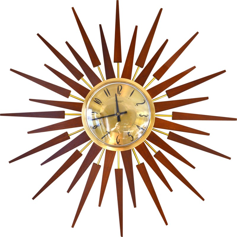 Large Sunburst Wall Clock In Teak And Br 1960s