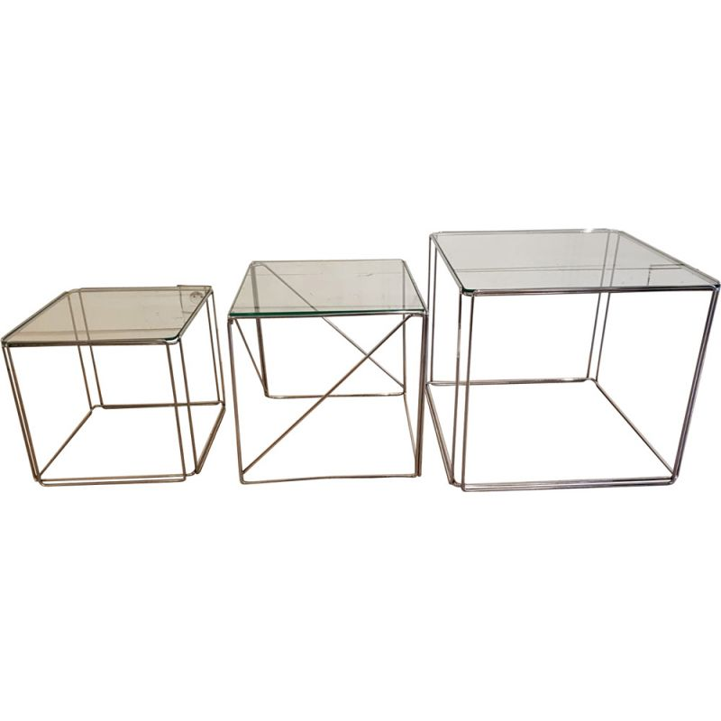 Vintage cubic nesting tables in glass and chrome by Max Sauze