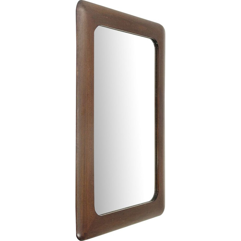 Vintage rectangular wood frame mirror from Germany 1970