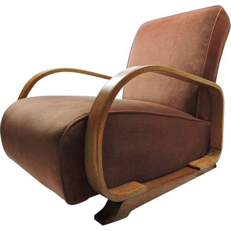 Vintage armchair for Heals and Sons in oakwood and pink fabric 1930