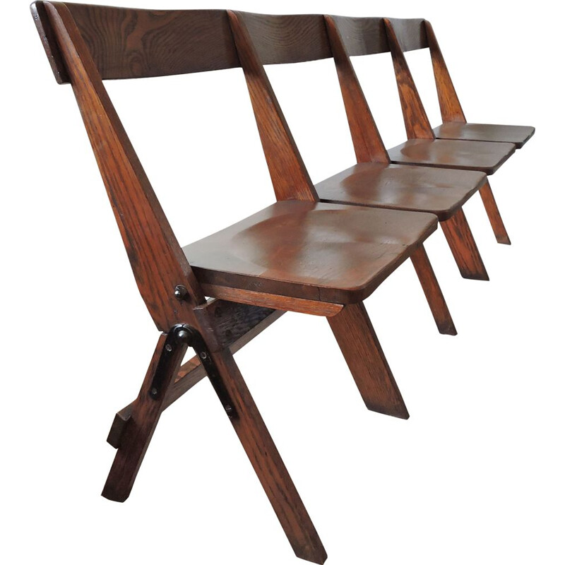 Set of 4 vintage folding and conjoined chairs in oakwood 1930s
