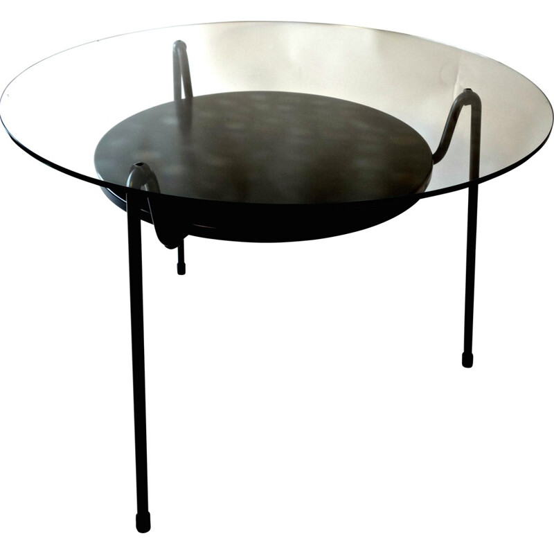 Coffee table model 535 in black lacquered steel and glass, Wim RIETVELD - 1950s