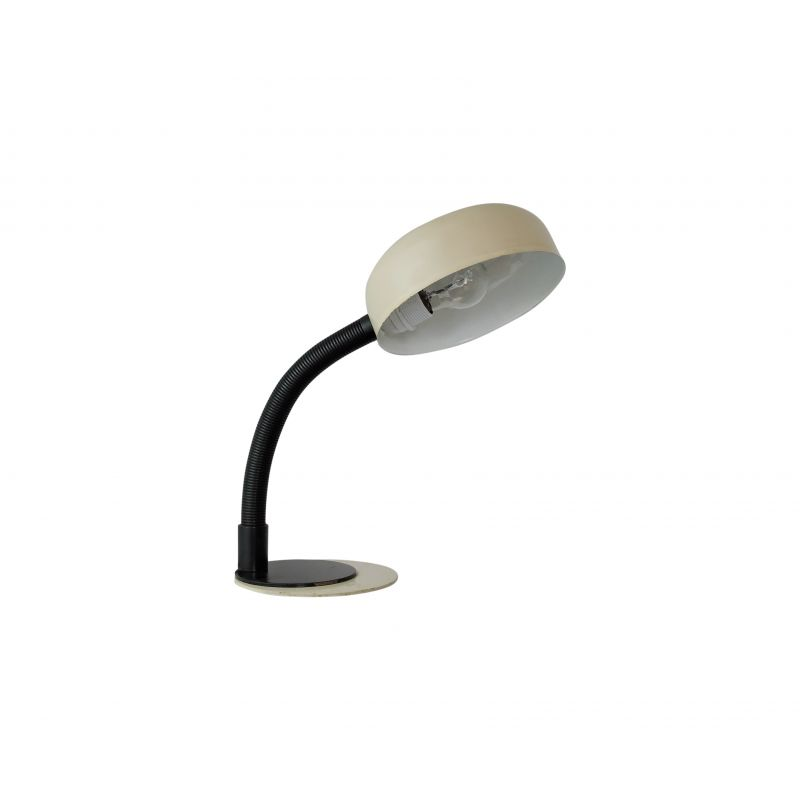 Vintage desk lamp in black and beige plastic and metal