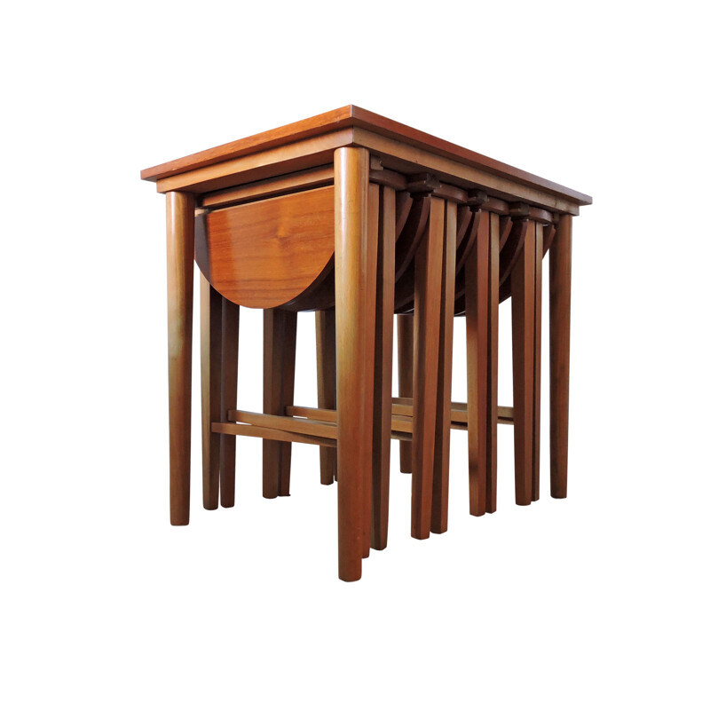 Vintage side table with 4 folding side tables