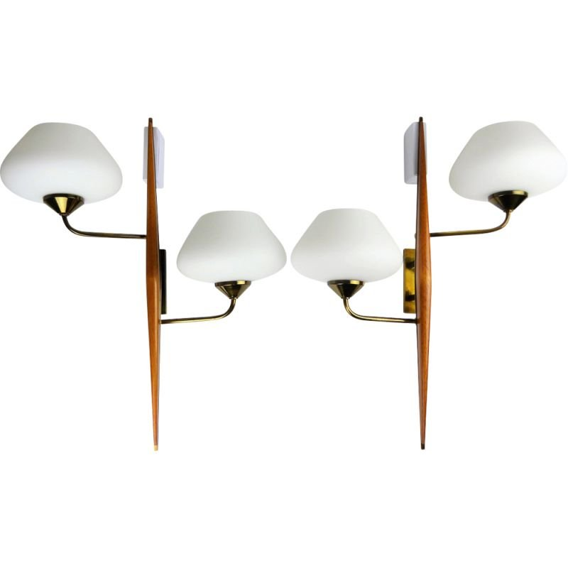 Set of 2 vintage white Lunel sconces in teak and brass 1950