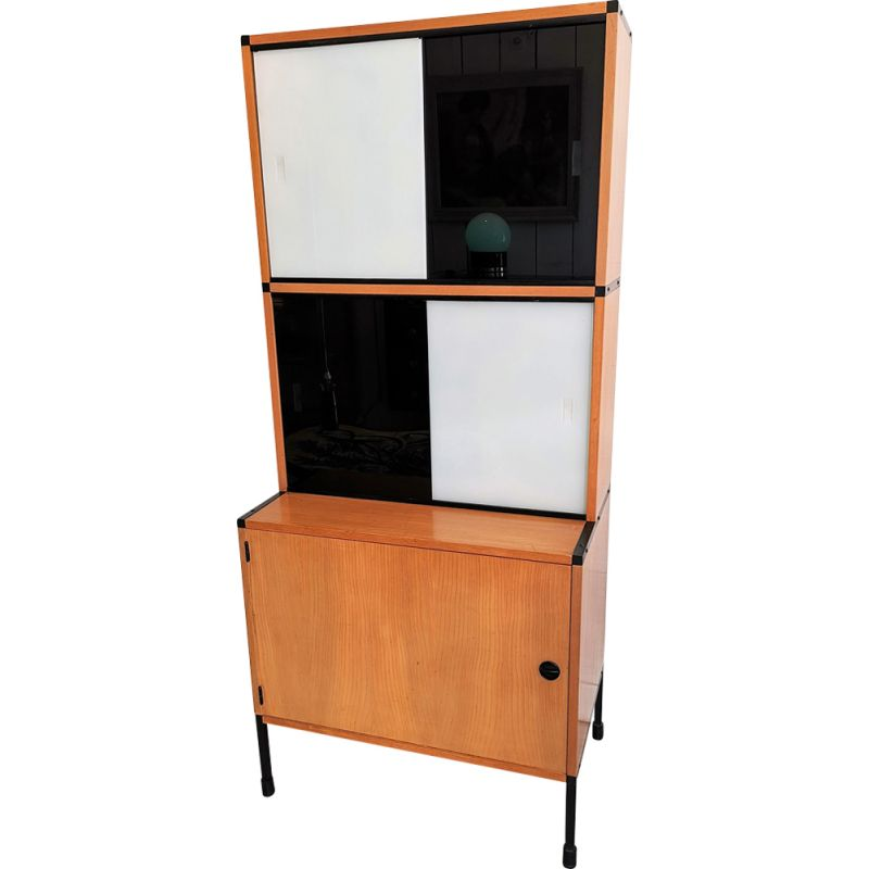 Vintage french sideboard for Minvielle in wood and steel 1960