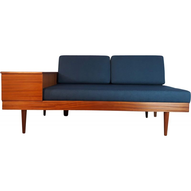 Vintage Norwegian sofa for Ekornes in wood and blue fabric