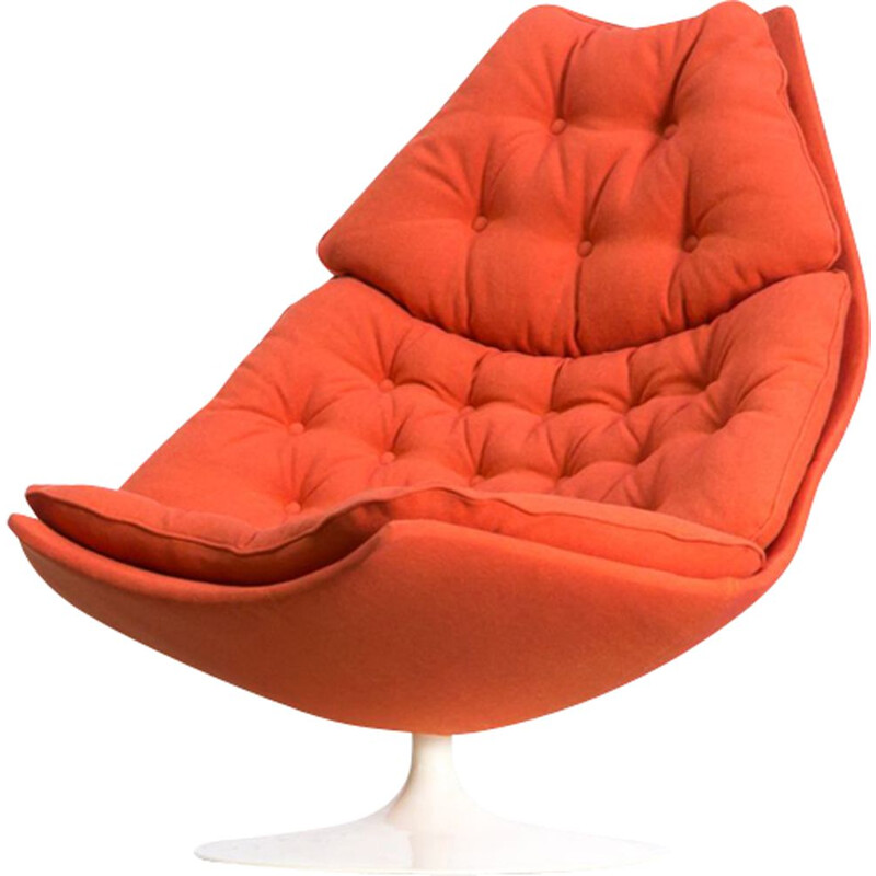 Vintage F588 orange lounge fauteuil for Artifort 1960