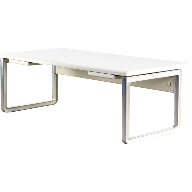 Vintage grey writing desk for Tecno in wood and aluminium