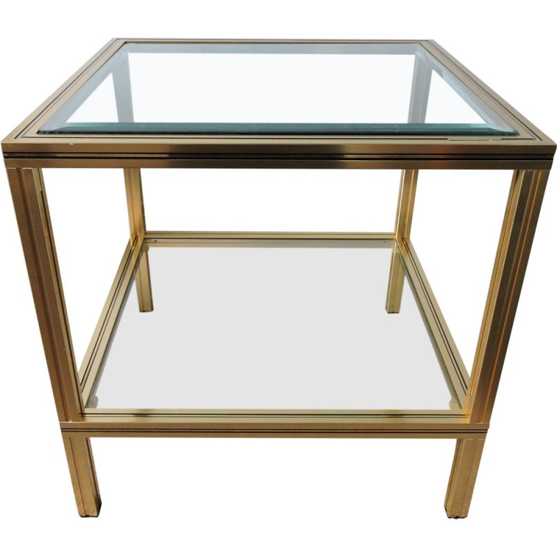 Vintage French square side table in brass and glass by Pierre Vandel