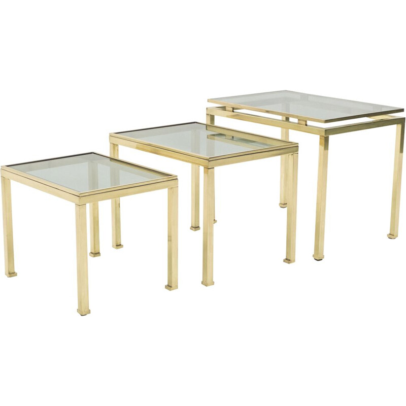Set of 3 vintage nesting tables in brass by Guy Lefevre for Maison Jansen