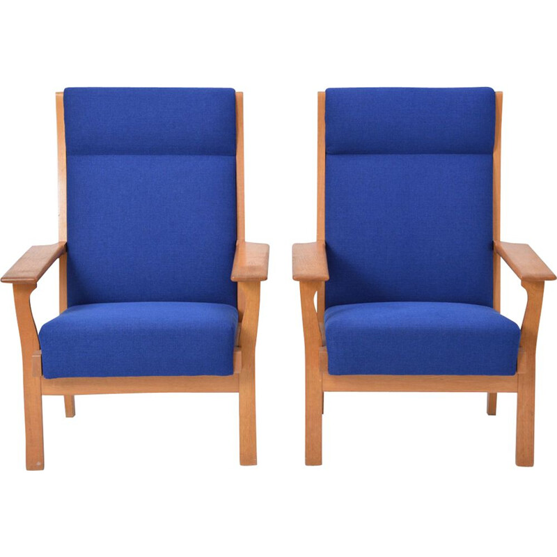 Set of 2 vintage lounge chairs Ge 181 A by Hans Wegner for Getama
