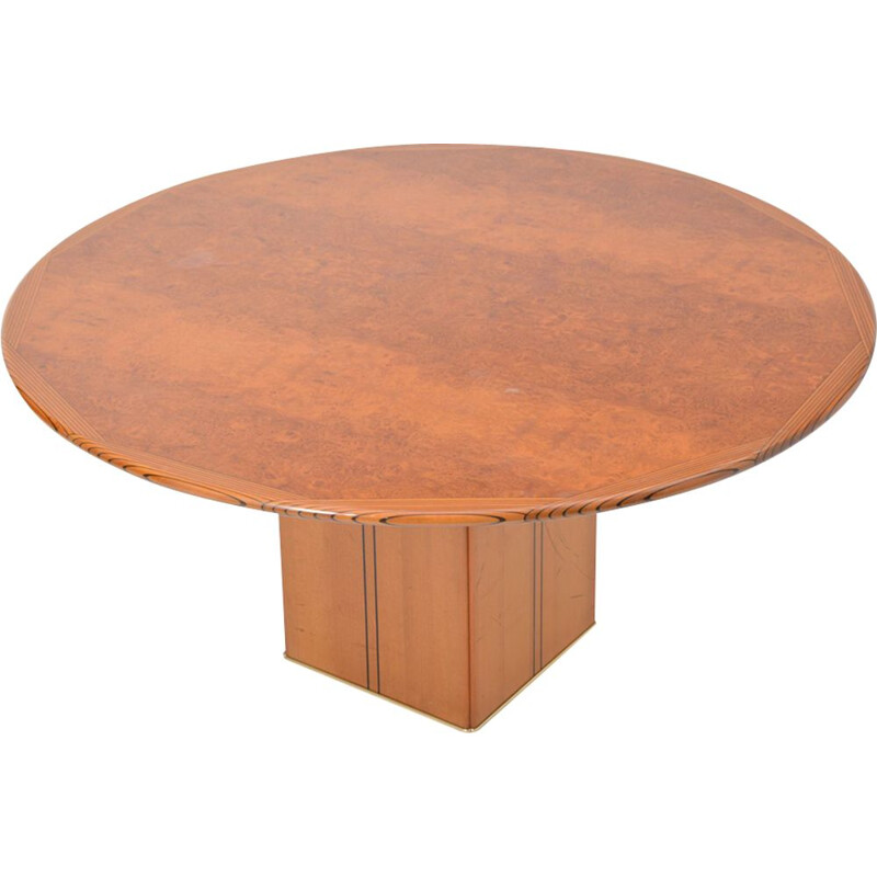 Vintage table in burl wood by Tobia and Afra Scarpa for Maxalto
