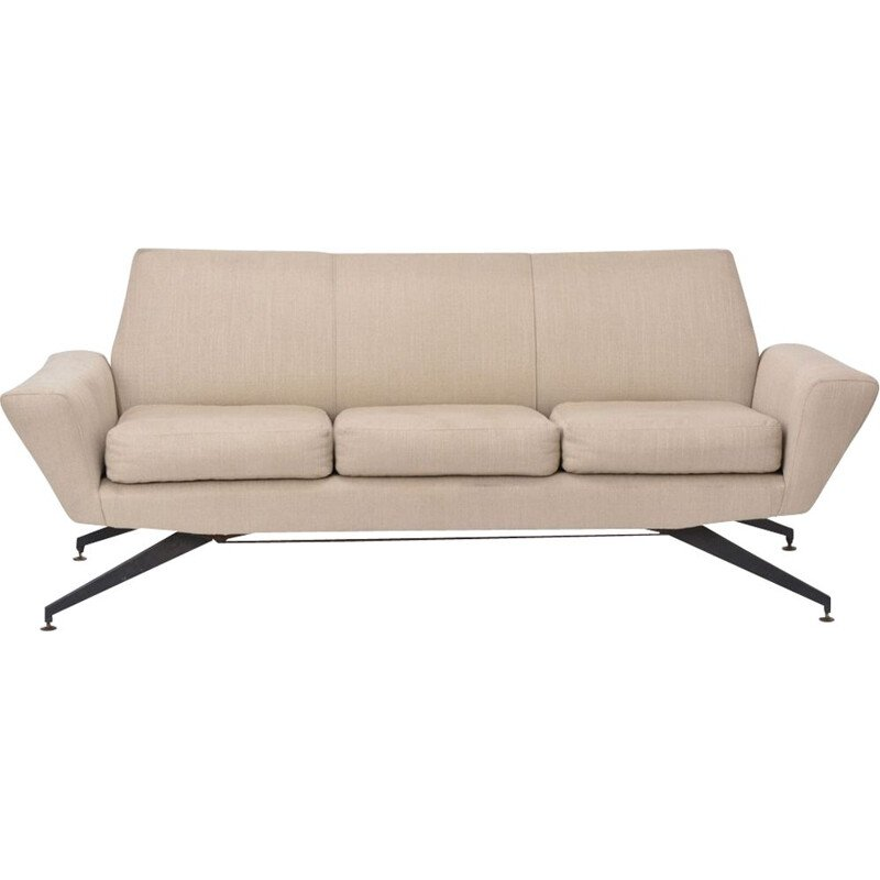 Vintage Italian 3-seater beige sofa with black metal base by Lenzi