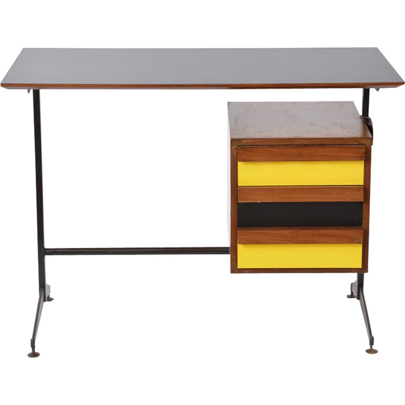 Vintage Italian desk in formica and teak