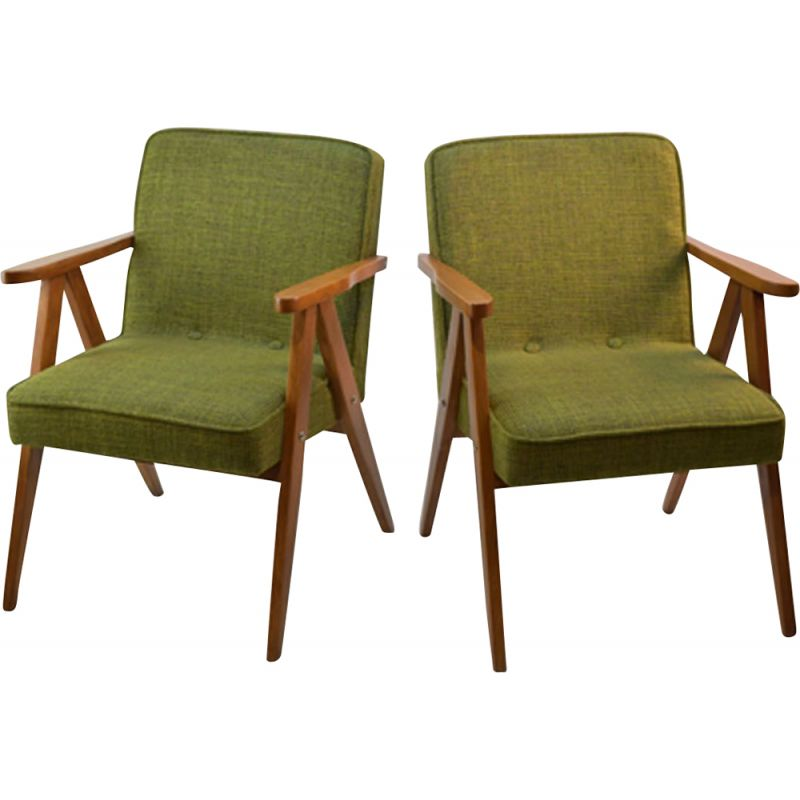 Suite of 2 vintage green armchairs