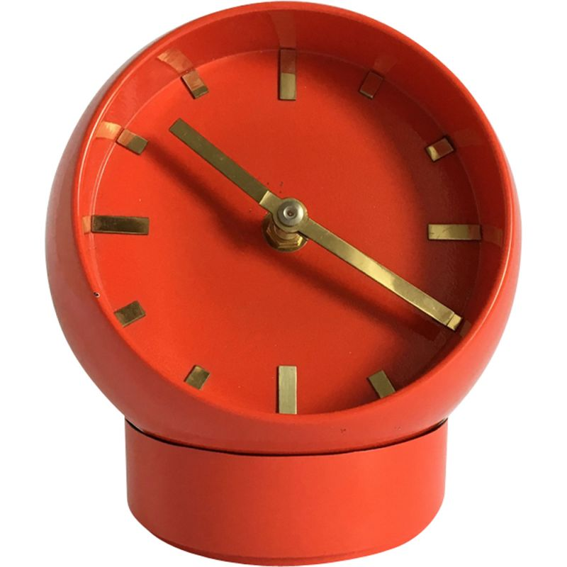 Vintage space age table clock in red plastic 1970
