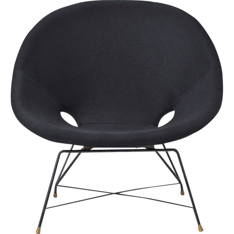 Vintage black Cosmos armchair for Saporiti with brass bases 1950