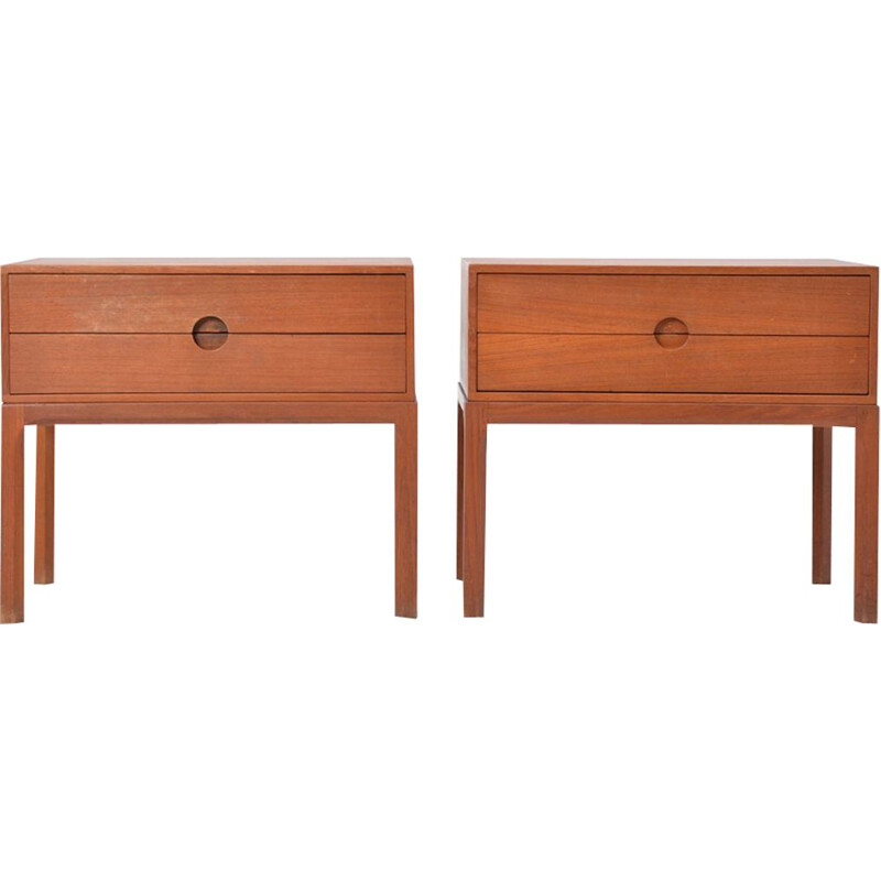 Set of 2 vintage scandinavian teak night stands for Odder 1950