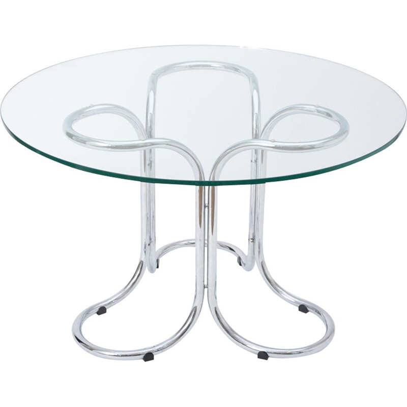 Vintage italian glass and steel dining table with metal base 1970
