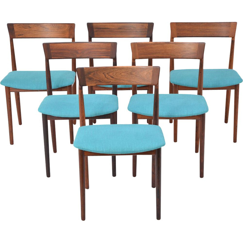 Set of 6 blue chairs in rosewood
