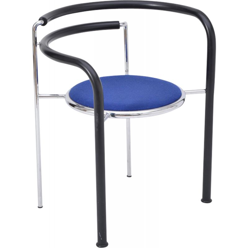 Dark Horse chair in metal and blue fabric