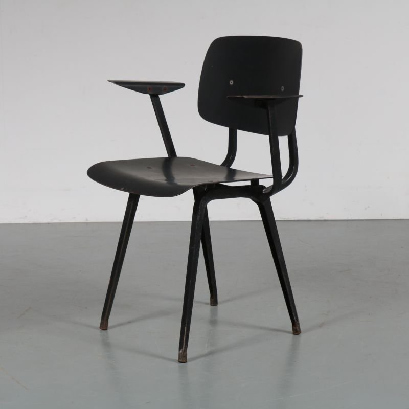 Vintage Revolt Chair For Ahrend De Cirkel In Black Metal 1950 Design Market