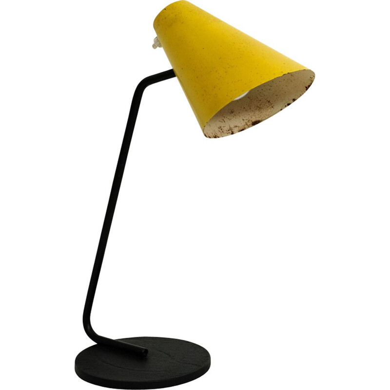 Yellow lamp in metal by Jacques Biny