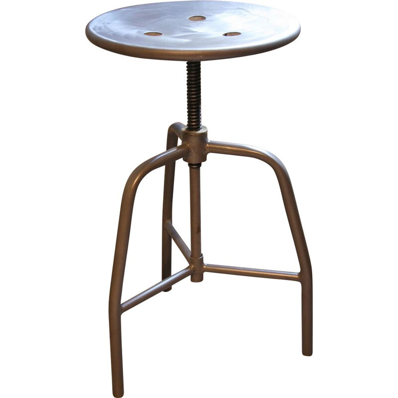 Vintage swiveling stool in black steel