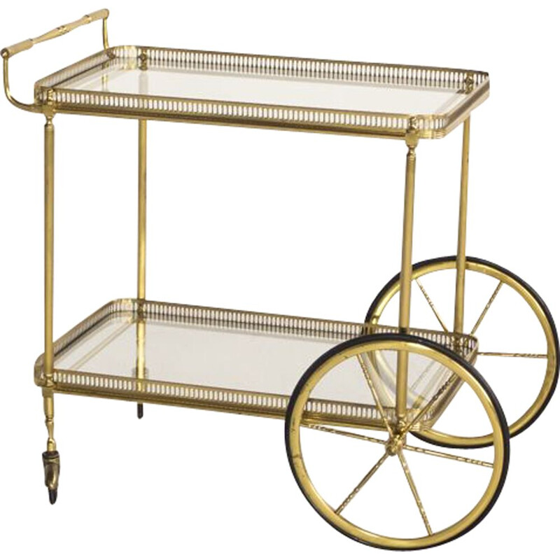 Vintage French serving cart in brass and glass by Maison Baguès