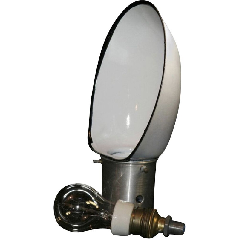 Vintage Polish stage lamp in white metal