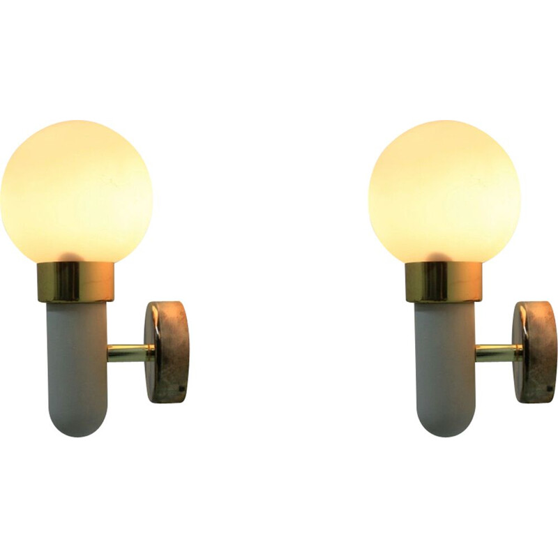 Pair of vintage sconces for Pokrok Žílina in glass and metal 1970