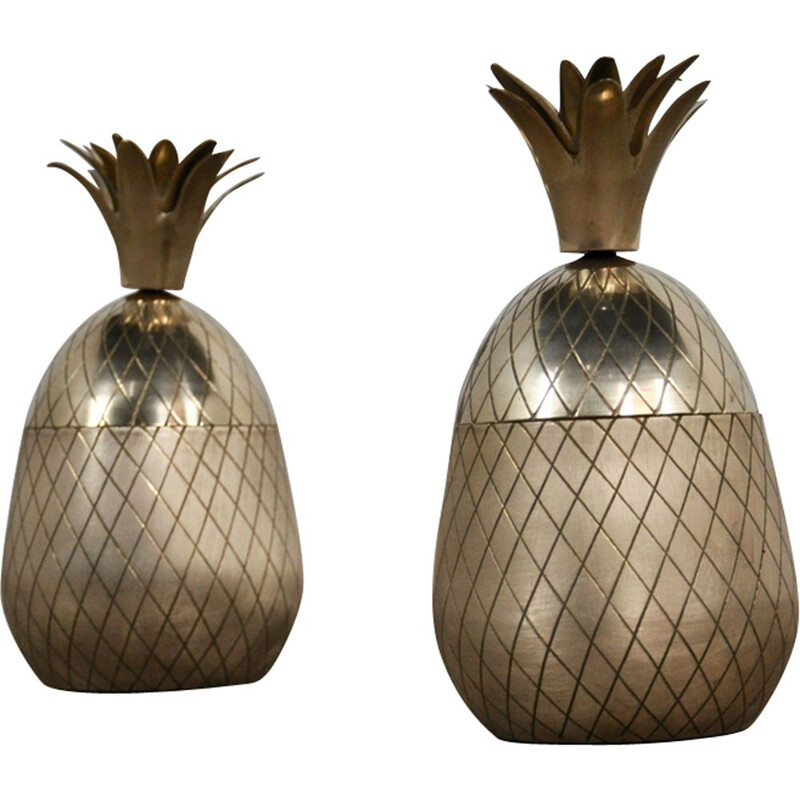 Pair of vintage brass pineapples pots for storage 1960