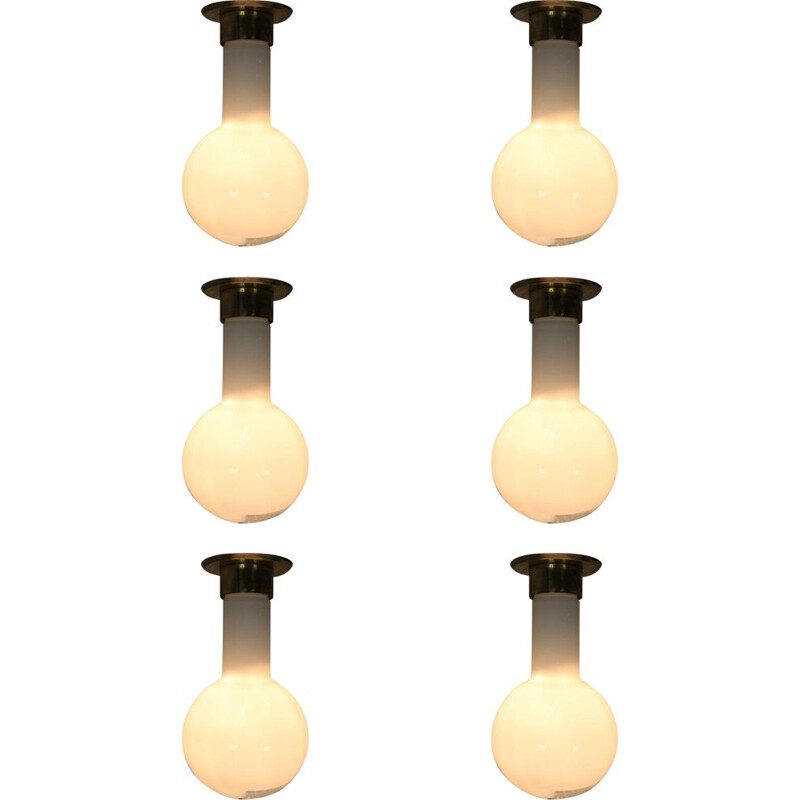 Set of 6 vintage pendants lights in glass and brass 1970s