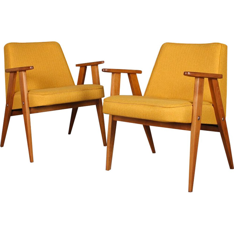 Pair of vintage 366 yellow chairs by Jozef Chierowski