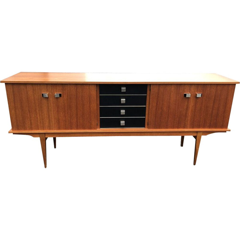 French vintage sideboard in wood and leatherette 1960