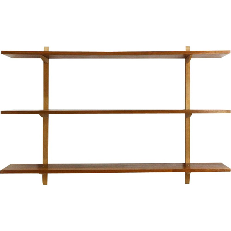 Vintage walnut and beech wall shelve from the 1950s